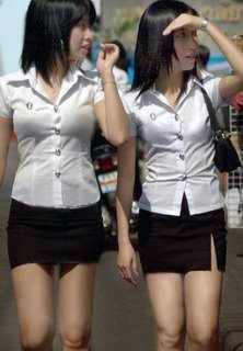 Thai students uniforms. Thai Students in Black & White